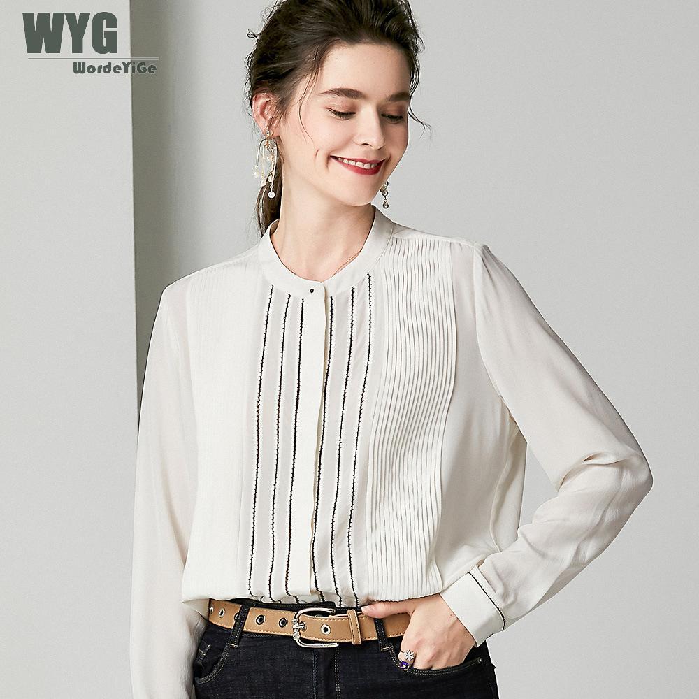 Европейские модные плотные шелковые блузки рубашки 2019 Осенние новые слои плиссированные с длинными рукавами однотонные черные белые дизай
