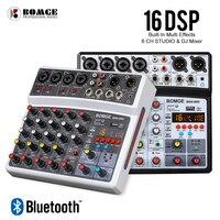 BOMGE-mezclador de Audio inalámbrico de 6 canales, consola de mezcla portátil, tarjeta de sonido con interfaz USB con 16 DSP Echo, potencia fantasma de 48V