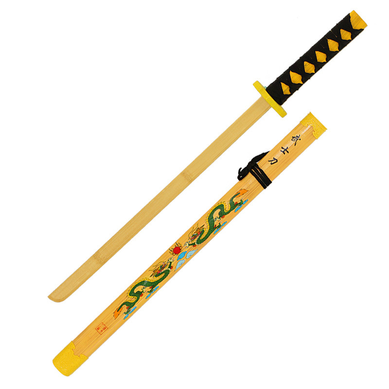 New Style Bamboo Double Chinese Dragons Martial-arts Broadsword Children Model Toy Natural Wood Sword Performance Props Scenic A