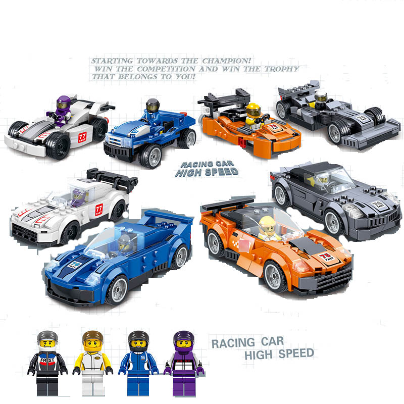 619PCS New LegoINGlys Speed Champion Figures Technic Models Armours Racing Car Building Blocks High Speed F74 Children Toy Gift