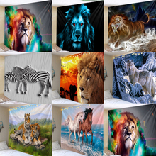 Zebra Lion Tapestry Wall Hanging Tribal Animal Sheets Wolf Tiger Horse Tapestry Home Decor Beach Mat