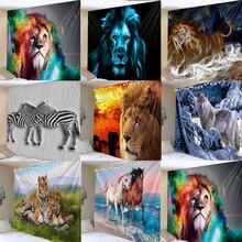 Zebra aslan goblen duvar asılı Tribal hayvan levhalar kurt kaplan at goblen ev dekor plaj Mat