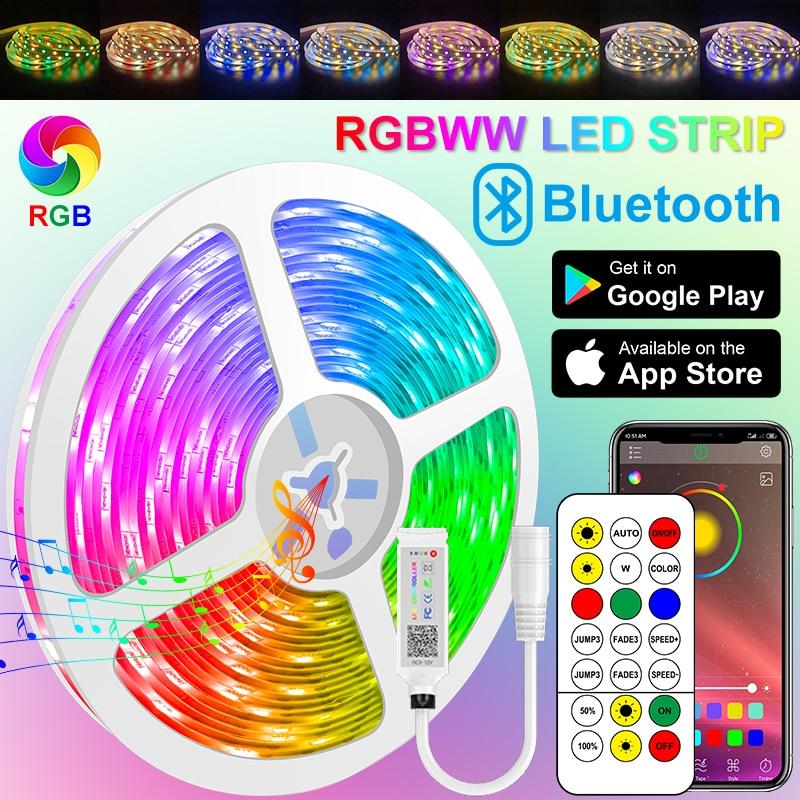 RGBWW Led Strips Bluetooth Led Lights 5050 2835 RGB Warm White strip Flexible Lamp Tape Ribbon DC Adapter