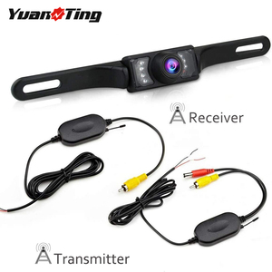 YuanTing HD Night Version 2.4G Wireless Transmitter and Receiver Car License Mount Rear View Backup Camera with 7 LED Lights 12V