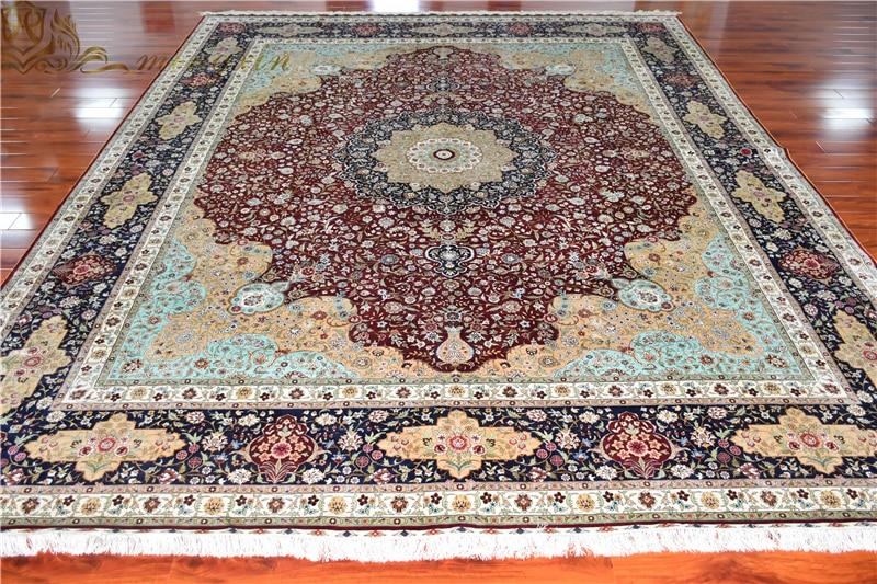12x15 Feet Big Size Persian Hand Knotted Silk Rug 100% Silkworm Silk Carpet Luxury Villa Area Carpet