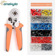IWS HSC8 6-4 Crimping tools pliers with 1200PCS electrical tubular terminals box mini clamp range 0.25-6mm² 23-10AWG sets