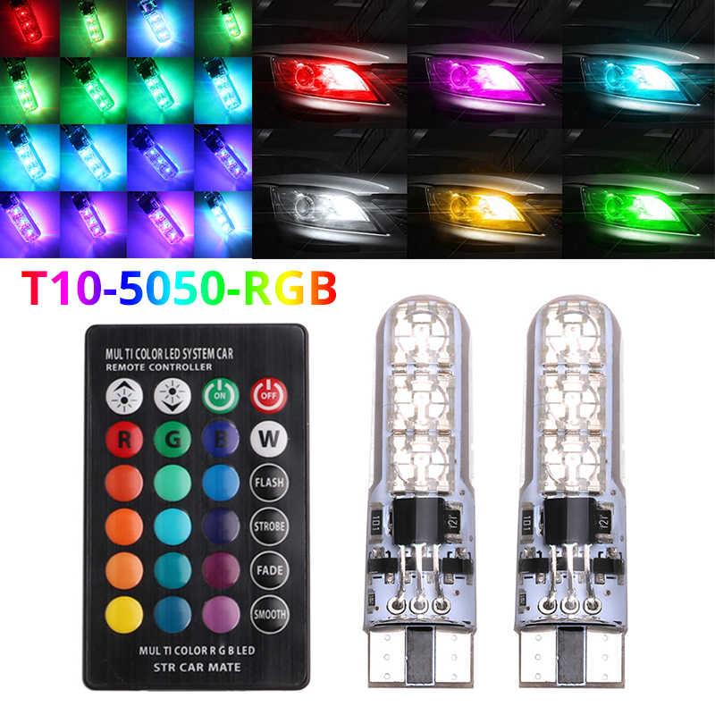 Warna-warni T10 W5W Lampu Mobil LED Lampu LED RGB dengan Remote Kontrol 194 168 501 Lampu Strobo LED Lampu Baca putih Merah Amber 12V