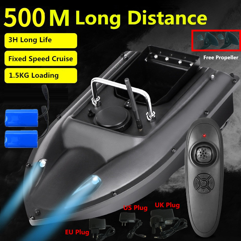 New High Speed Smart RC Fishing Boat C18 500M Dual Night Light Fixed Speed Cruise Automatic Feed Wireless Control RC Bait Boat