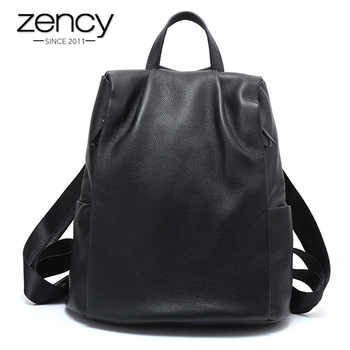 Zency Anti-theft Women Backpack 100% Genuine Leather Black Travel Bag Big Schoolbag For Girls Fashion Female Knapsack Laptop - DISCOUNT ITEM  55% OFF All Category