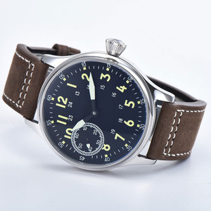 Image 3 - Sterile 44mm Sterile Black Dial  Luminous 6497 Hand Winding ST3600 Movement mechanical wristwatches sapphire crystal 316L SS