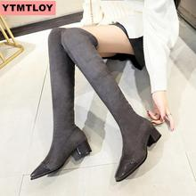 Faux suede slim knee boots winter womens sexy thigh high female pointed high-heeled thick with knight