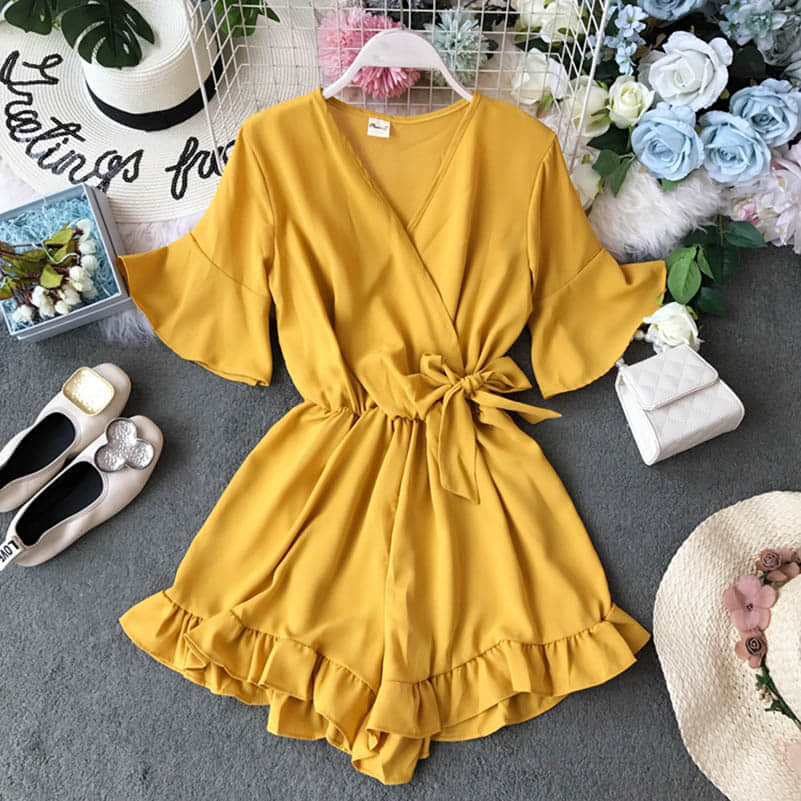 H032b62954e014e71804773d3593b9ebbD - Candy Color Elegant Jumpsuit Women Summer Latest Style Double Ruffles Slash Neck Rompers Womens Jumpsuit Short Playsuit