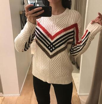 Women Sweater 2019 Autumn and winter new color temperament small fragrance Slim geometric striped sweater sweater фото