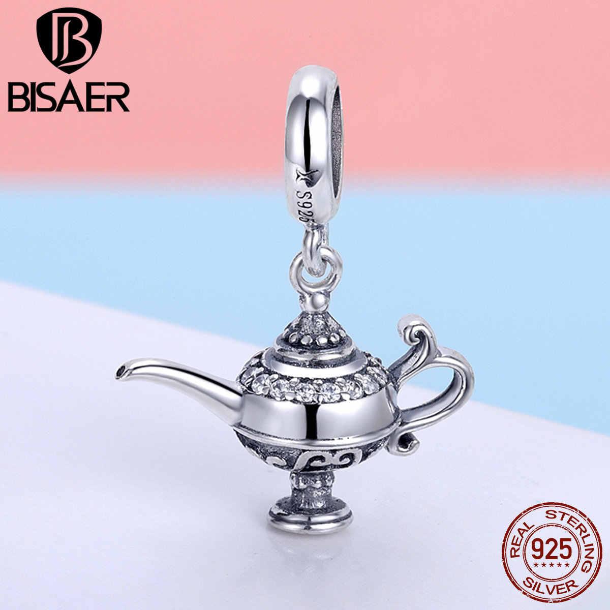 Лидер продаж 925 пробы серебро Волшебная Лампа Аладдина чашка чайник фляга Серебряный Шарм Бусины Подходят Браслет bisaer серебро 925 ювелирные изделия