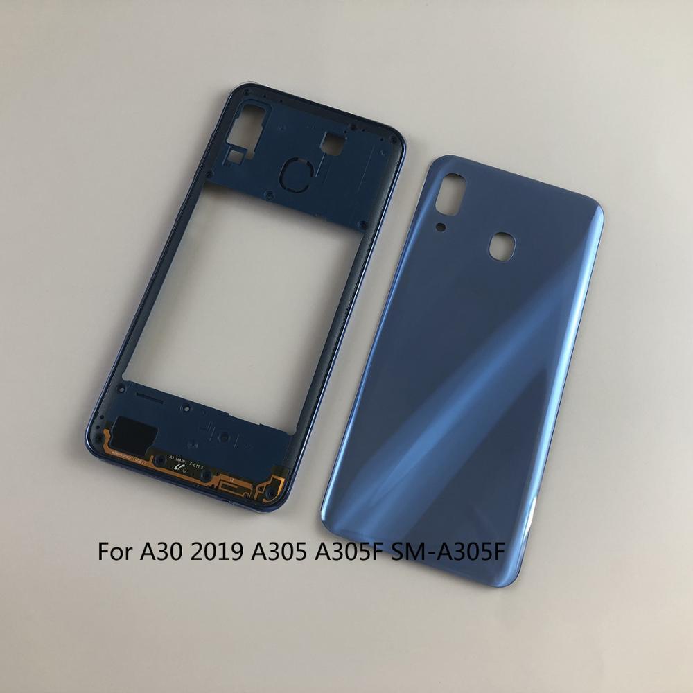Корпус для Samsung Galaxy A30 2019 A305 A305F, средняя рама, боковые кнопки, задняя крышка аккумулятора, чехол для задней двери, наклейка