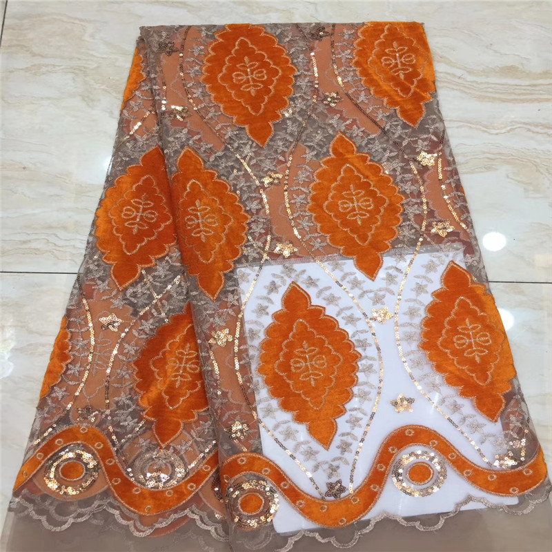 Sequins Lace Fabric Latest African Lace Fabric High Quality Nigerian French Party lace fabric for tulle lace fabric Orange