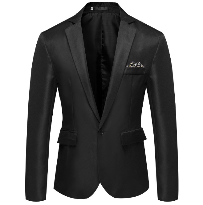 LASPERAL Men's Formal Slim Fit Formal One Button Suit Long Sleeve Notched Blazer Cotton Blend Coat Jacket Top