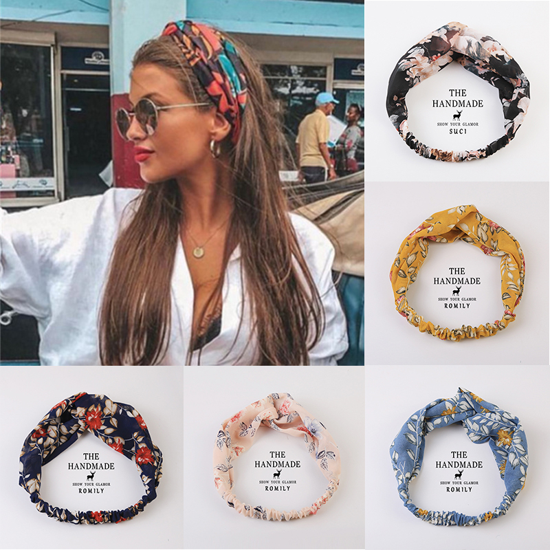 Women Girls Summer  Boho Hair Bands Print Headbands Vintage Cross Turban Bandage Bandanas HairBands Hair Accessories Gift