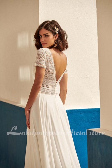 Sexy Boho Wedding Dress Plus Size Chiffon Beach Wedding Gown Lace Backless Sweep Train Bridal Gowns Boho Robe de mariee 2021 new 3