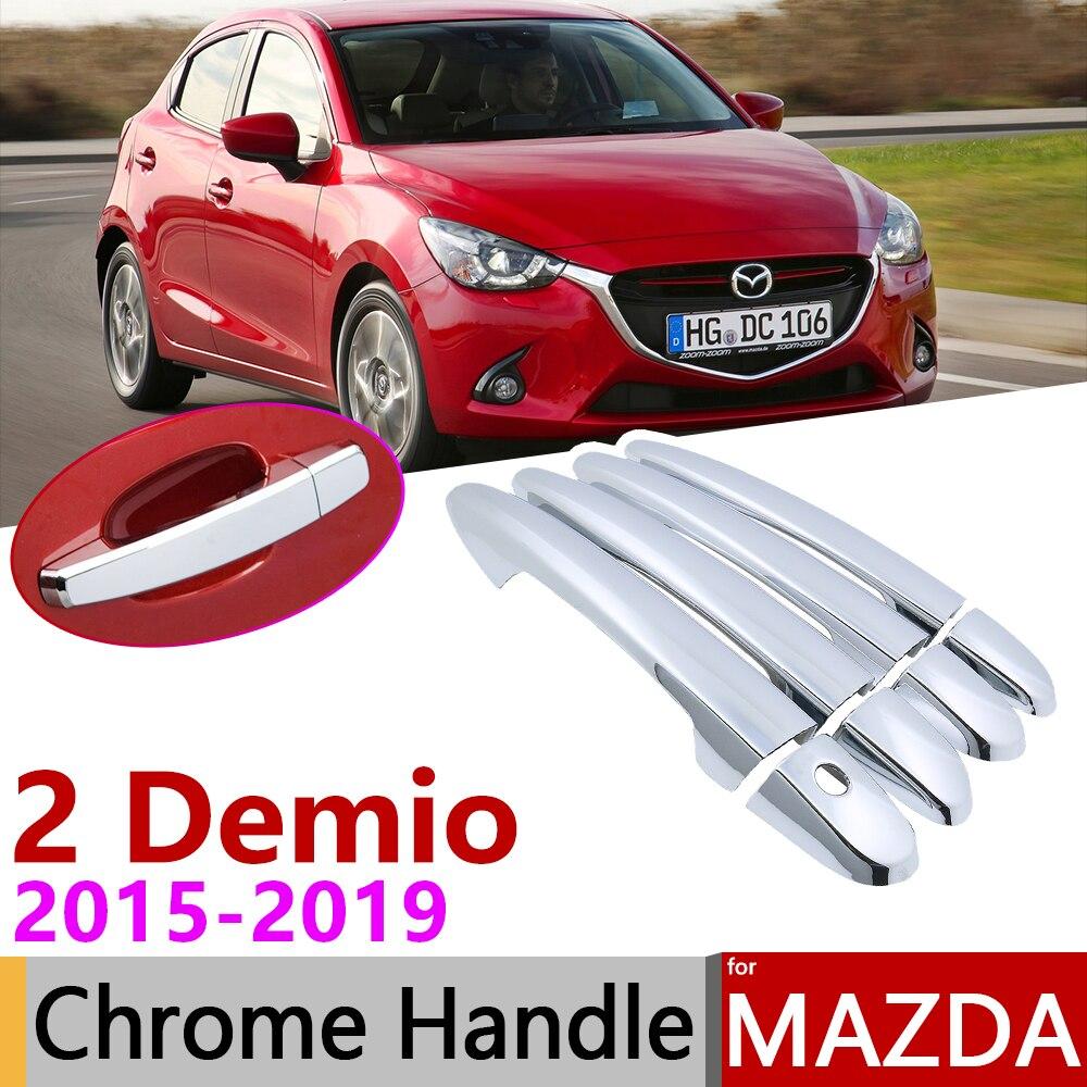For Mazda2 Demio DJ DL 2015-2018 Chrome Front Fog Light Lamp Ring Cover Trim