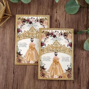Image 1 - 100 шт. блестящие лазерные вырезы приглашения Quinceanera золотого цвета свадебные карманы с конвертом