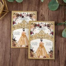 100pieces Glitter Shining Laser Cut Quinceanera Invitations Gold Color Wedding Pockets with Envelope