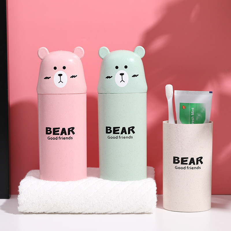 Wheat Straw Cartoon Bear Wash Cup Bathroom Couple Mouthwash Cup Portable Travel Toothpaste Toothbrush Storage Cup