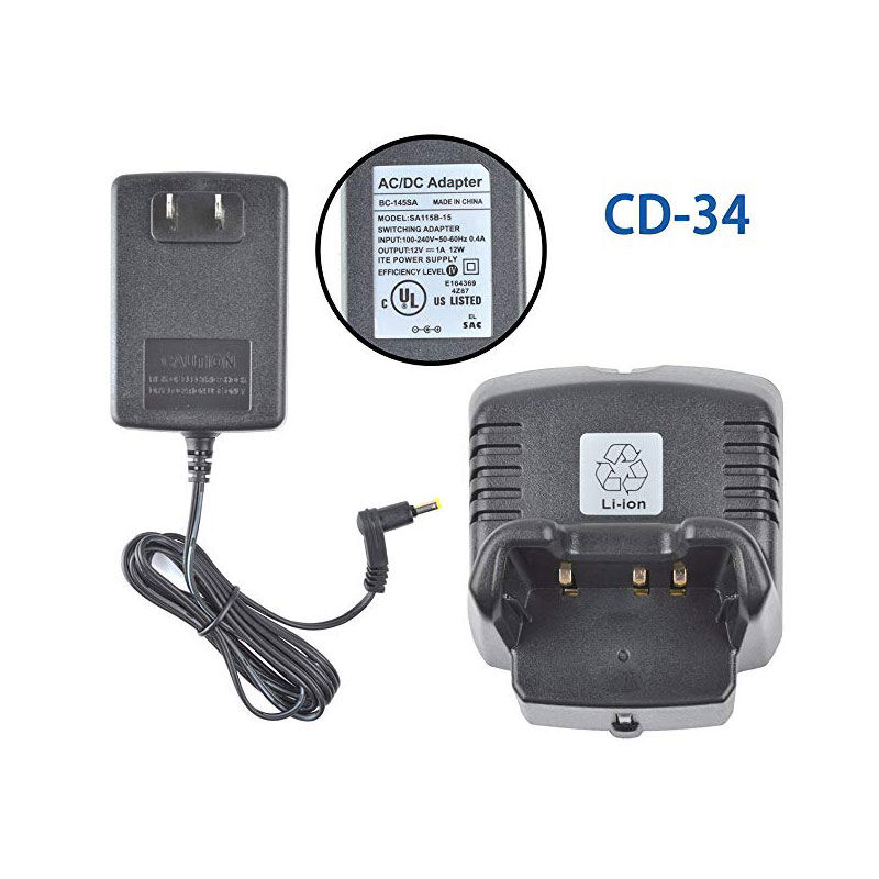 Vertex VAC-300 CD-34 Desktop Rapid Charger For VX-231 VX-351 VX-354 FNB-V103Li FNB-V104Li FNB-V95Li FNB-V96Li Li-ion BAttery