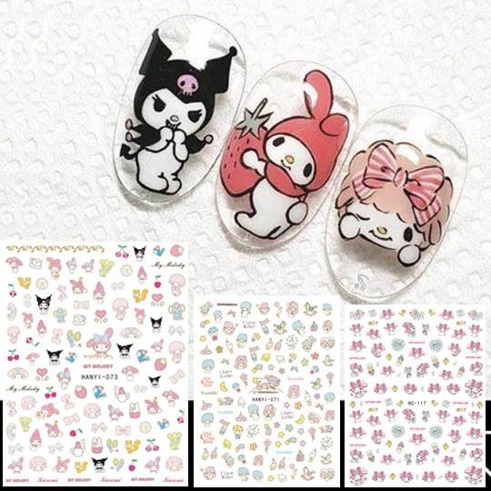 Hanyi Series Sakura Flower HANYI-71-73 TWINS STAR  3d Nail Art Stickers Decal Template Diy Nail Tool Decorations