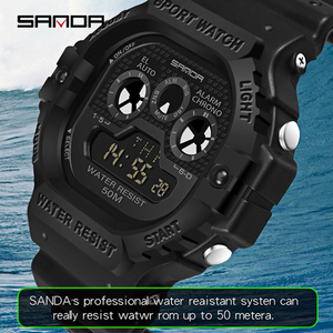 Image 4 - SANDA חדש רב תכליתי ספורט שעון גברים של שעון תלמיד עסקי LED הדיגיטלי עמיד למים כיכר אלקטרוני שעון Montre homme