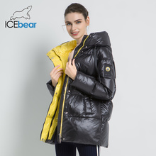 2019 New Winter Female Jacket High Quality Hooded Coat Women Fashion Jackets Winter Warm Woman Clothing Casual Parkas cheap ICEbear zipper GWD19502 GWD19501I Full Polyester Sustans Thick (Winter) Broadcloth Slim Solid REGULAR 1 2kg Pockets Zippers