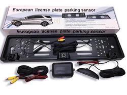 Marco de placa de matrícula de coche Europa sistema de cámara de marcha atrás cámara de tres en uno de alta definición Monitor de punto ciego vista trasera de vino