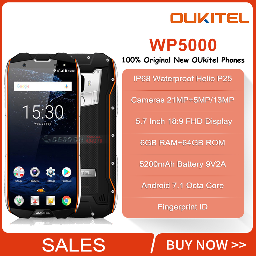 <font><b>Oukitel</b></font> <font><b>WP5000</b></font> Waterproof IP68 Mobile Phone 5.7