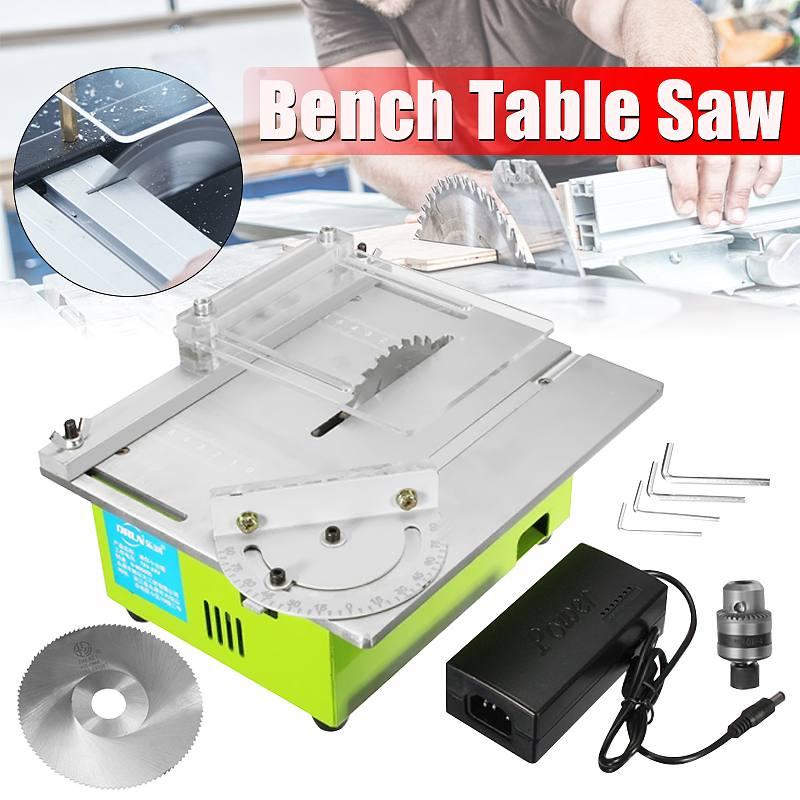 Mini Table Saw Handmade Woodworking Bench Saw DIY Hobby Model Crafts Cutting Tool Handmade Woodworking Bench with 2 Saw Blades