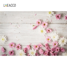Laeacco Wooden Board Blooming Flowers Petals Portrait Photography Backgrounds Customized Photographic Backdrop For Photo Studio