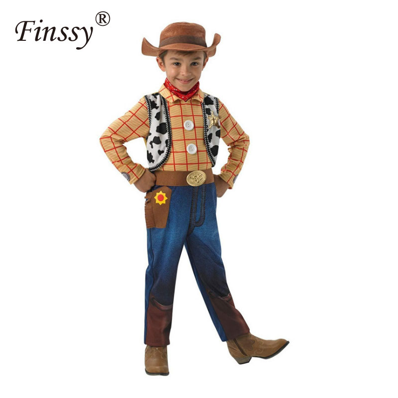 2019 Boys Toy Story Woody Deluxe Children Fancy-dress Costume Halloween Costume For Kids Party Dress Carnival Christmas With Hat
