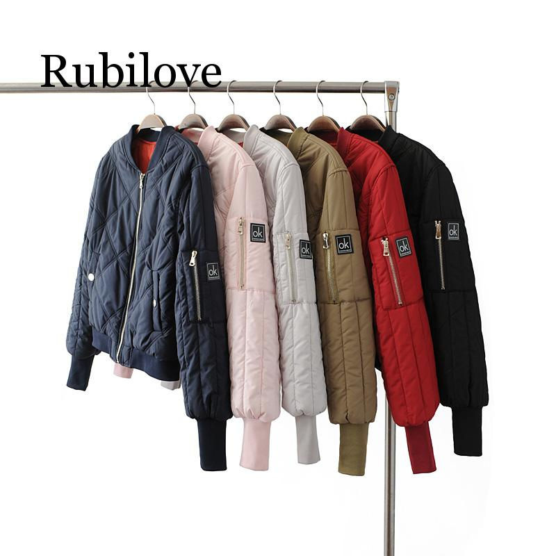 Rubilove women's Winter army green Flight bomber short   jacket   autumn women Casual Quilted   Basic     jacket   coat clothes ladies