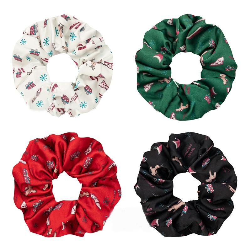 Купить атласная рождественская лента для волос с принтом новинка резинка