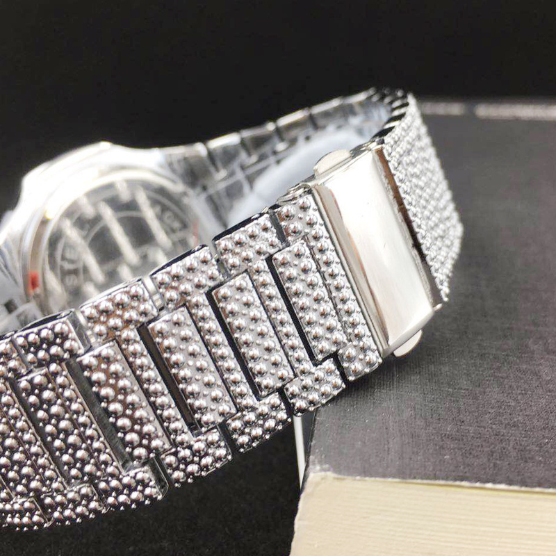 free dropshipping new 2020 ICE-tone bling diamond watch for men silver stainless steel band mens watches (18)