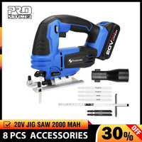 PROSTORMER 20V Jig Saw Power Tool Cordless Jigsaw Quick Blade Change Electric Saw LED Light Guide With 6 Pcs Blades Woodworking