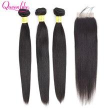 Queenlike натуральные кудрявые пучки волос с закрытием не Реми волосы уток 3 4 пряди бразильские прямые волосы пряди с закрытием