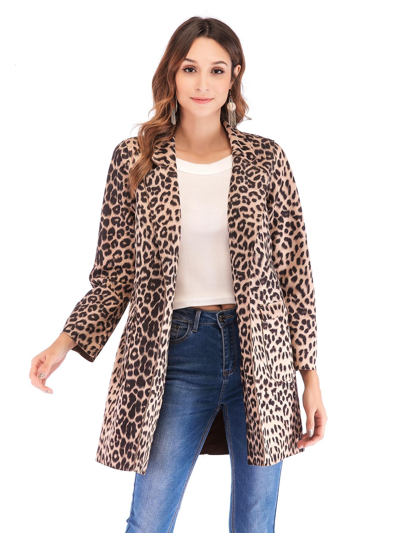 BacklakeGirls Autumn Winter Warm Leopard Print Long Sleeve Woollen Cardigan Sweater With Pocket Elegant Women Loose Coat