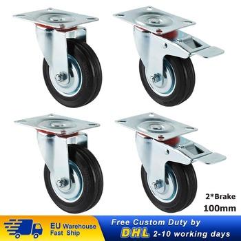 4 szt 100mm Heavy Duty 200kg kółka obrotowe koła z 2 hamulcami PU wózek meble kółka do fotela tanie i dobre opinie CN (pochodzenie) Kółka do mebli furniture wheel