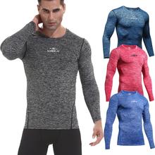 Wiosenne męskie koszulki sportowe solidne oddychające koszulki do biegania z długim rękawem Fitness Jogging odzież sportowa odzież sportowa do kulturystyki tanie tanio CN (pochodzenie) Chłopcy Wiosna AUTUMN Winter spandex Pasuje prawda na wymiar weź swój normalny rozmiar long sleeve shirt men