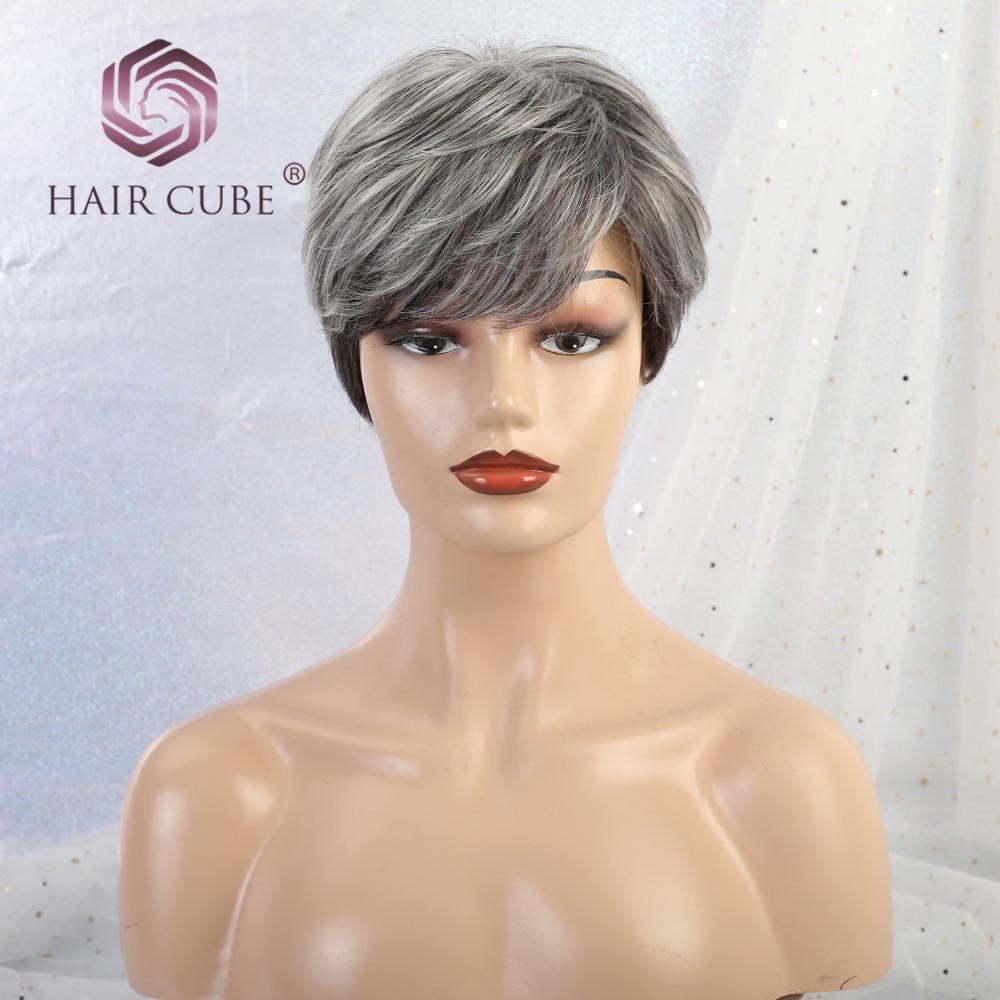 Haircube синтетические короткие прямые волосы парики Pixie срезанные серые цвета 50% человеческие волосы Омбре блики сторона челка смесь парик для женщин - Цвет: wm3035