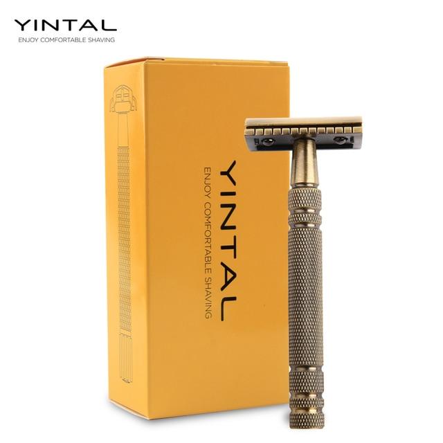 YINTAL Mens Bronze Classic Double sided Manual Razor Long Handle Safety Razors Shaving Replaceable Classic Razors