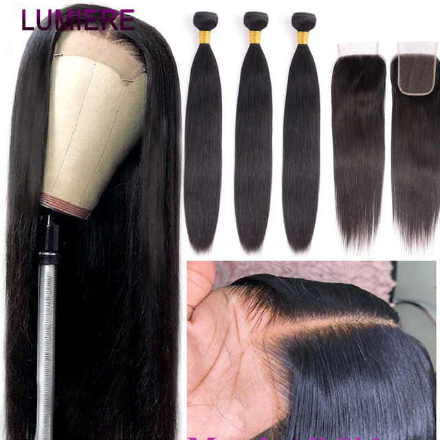 Lumiere Hair Straight Bundles With Closure Brazilian Hair Weave Bundles With Closure non remy Human Hair 3 Bundles With Closure