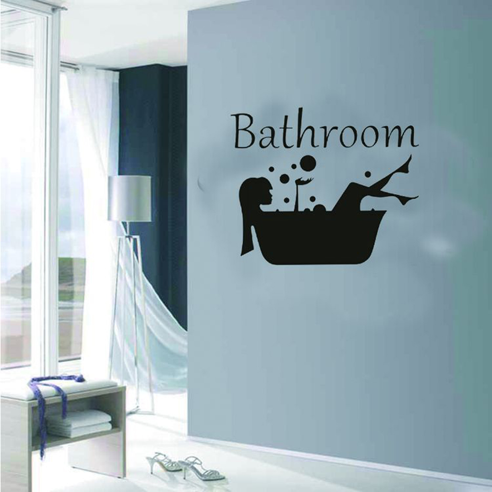 Lady Bathtub Wall Sticker Home Bathroom Door Removable Decal Art Mural Decor Rooms Wall Art Home Decoration