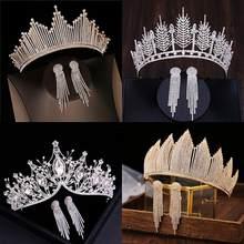 Corona barroca de lujo para novias, Tiaras de cristal de Color plateado con pendientes, diadema de diamante de imitación, accesorios para el cabello de boda, Bisutería