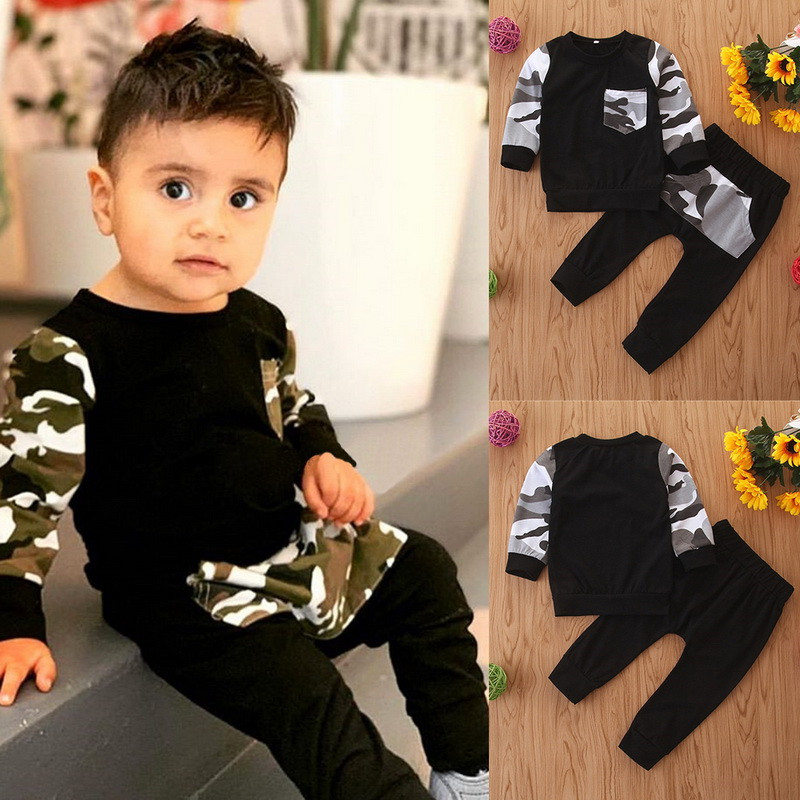 Infant newborn Baby Boys Fall Sweatshirt Set Camouflage Hoodie Top Long Pants Outfits Set Casual camo outfit for winter baby D30